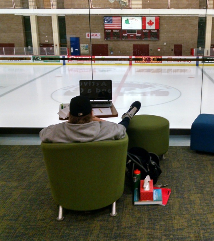 A student studies on the red line at the University of Minnesota Duluth Sports and Health Center.