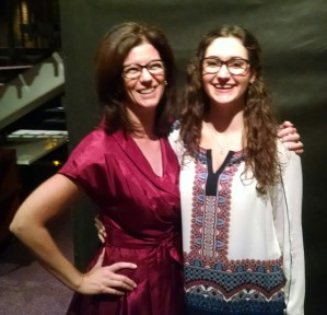 "Jen Moore, left, meets ""Professor Jennifer Moore,"" University of Minnesota Duluth theater student Erica VonBank."
