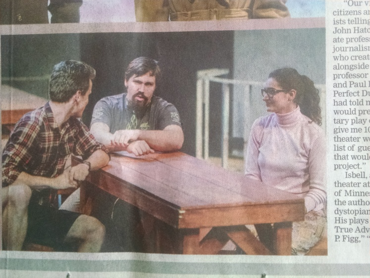 "University of Minnesota Duluth student Erica VonBank, right, portrays Professor Jennifer Moore in the UMD production of ""One River."" (Photo from the Sept. 30 Duluth News Tribune)"